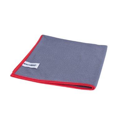 Microvezel glasdoek Allure antraciet rode rand 40x40cm 10 stuks