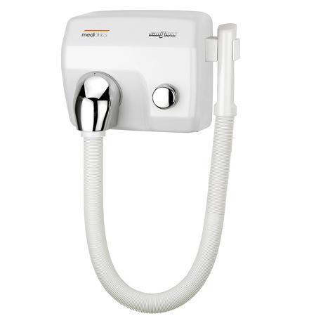 Haardroger drukknop wit met slang Staal Wit geëmailleerd Mediclinics