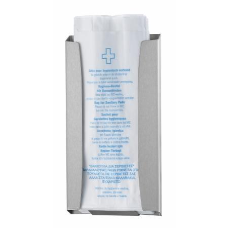 Hygiënezakjesdispenser (papier) RVS anti-fingerprint coating | Met 1 mm gelaste kap - Wings